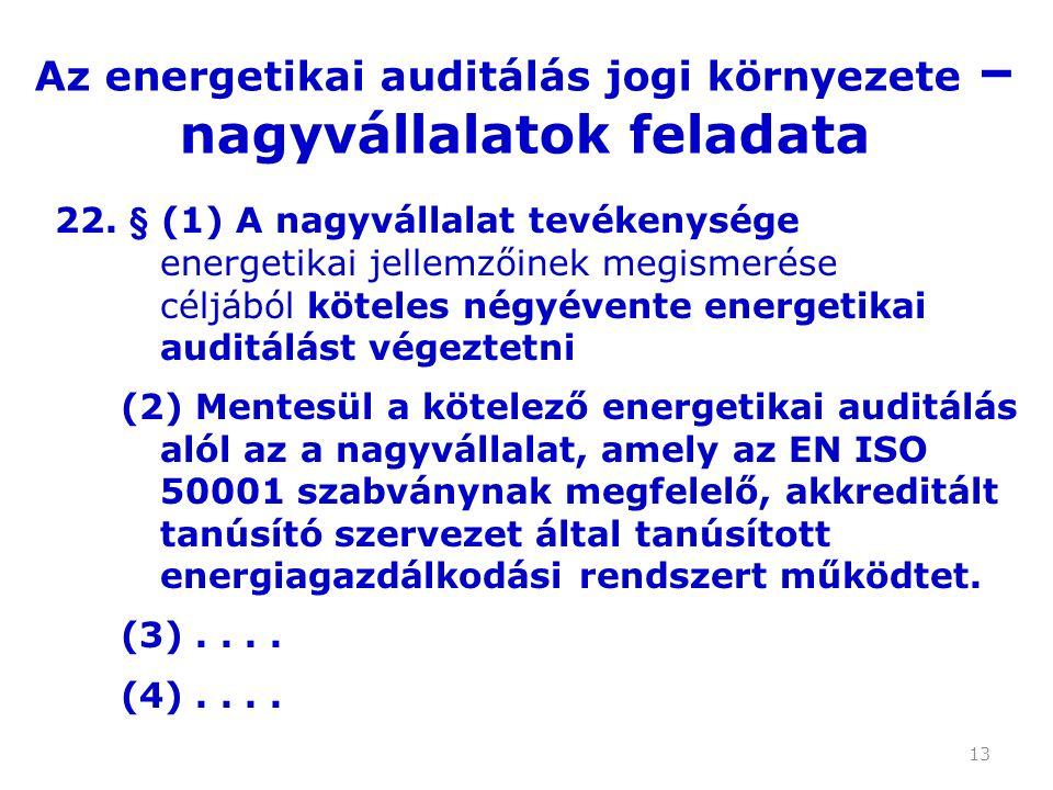 13 22. § (1) A nagyvállalat tevékenysége energetikai jellemzőinek megismerése céljából köteles négyévente energetikai auditálást végeztetni (2) Mentes