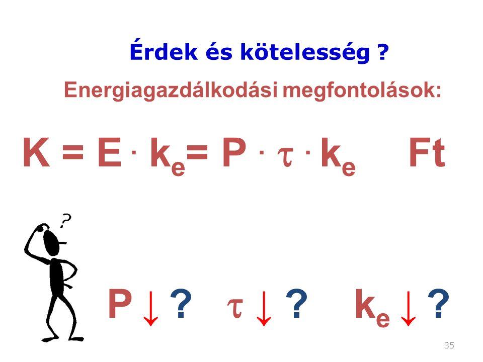 35 Érdek és kötelesség . Energiagazdálkodási megfontolások: K = E.