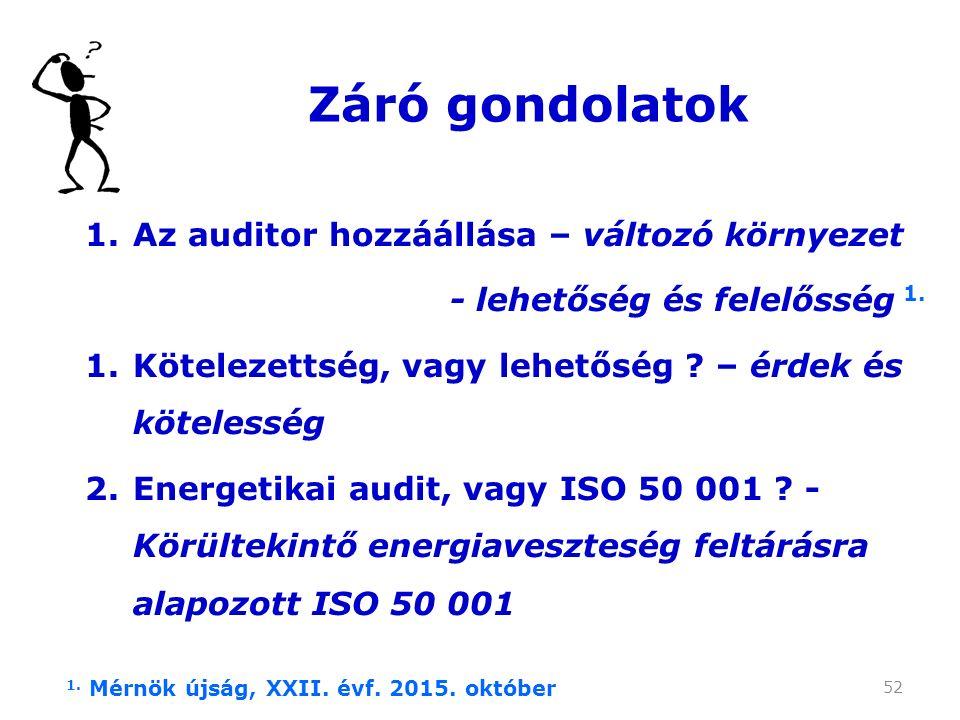 52 Záró gondolatok 1.Az auditor hozzáállása – változó környezet - lehetőség és felelősség 1.