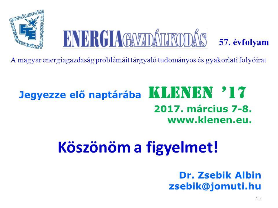 Köszönöm a figyelmet. 53 Dr. Zsebik Albin zsebik@jomuti.hu Jegyezze elő naptárába KLENEN '17 2017.