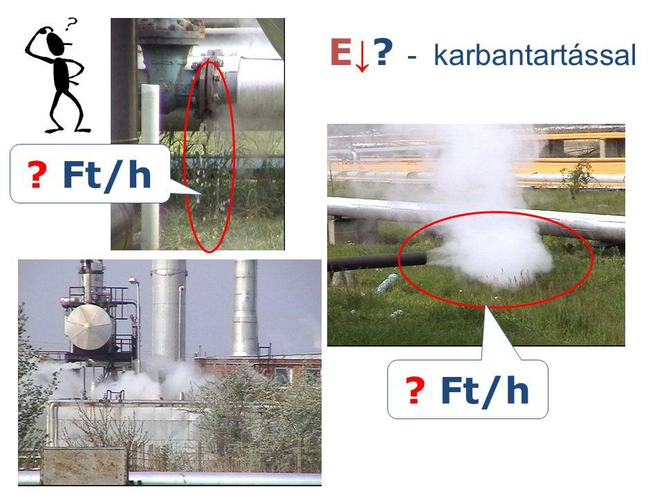 Üzemviteli nyomás magasabb a szükségesnél Sarjúgőz hasznosítás h''=2778 kJ/kg h'=762 kJ/kg h''*=2678 kJ/kg h'*=428 kJ/kg x Gőzzel arányos Víz fázissal arányos 3 bar 16 bar  h  1-2 % Vízgőz hőmérséklet-entrópia diagramja E↓?E↓?