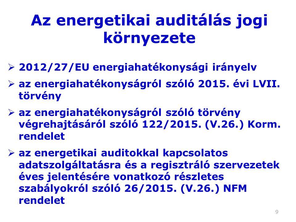 10 A Kormány energiahatékonysági feladatai: a) meghatározza a nemzeti energiahatékonysági célkitűzést; … h) meghatározza az energetikai auditálással kapcsolatos követelményeket; … k) meghatározza az energiamegtakarítás összehasonlításakor és összevethető mértékegységre történő átváltásakor alkalmazandó átváltási tényezőket.