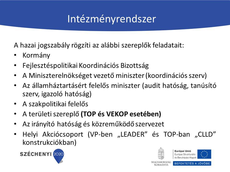 Intézményrendszer A hazai jogszabály rögzíti az alábbi szereplők feladatait: Kormány Fejlesztéspolitikai Koordinációs Bizottság A Miniszterelnökséget