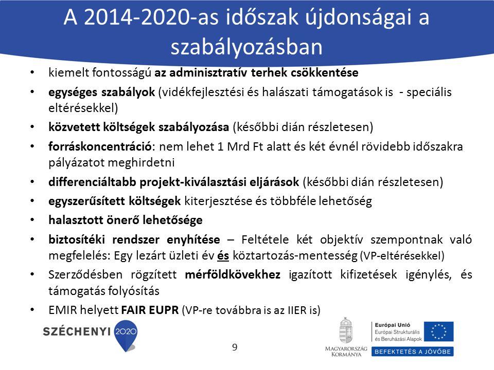 A 2014-2020-as időszak újdonságai a szabályozásban kiemelt fontosságú az adminisztratív terhek csökkentése egységes szabályok (vidékfejlesztési és hal
