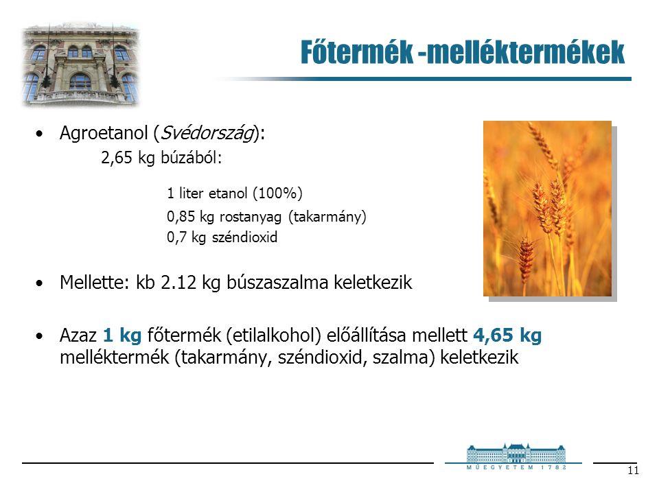 11 Főtermék -melléktermékek Agroetanol (Svédország): 2,65 kg búzából: 1 liter etanol (100%) 0,85 kg rostanyag (takarmány) 0,7 kg széndioxid Mellette: kb 2.12 kg búszaszalma keletkezik Azaz 1 kg főtermék (etilalkohol) előállítása mellett 4,65 kg melléktermék (takarmány, széndioxid, szalma) keletkezik
