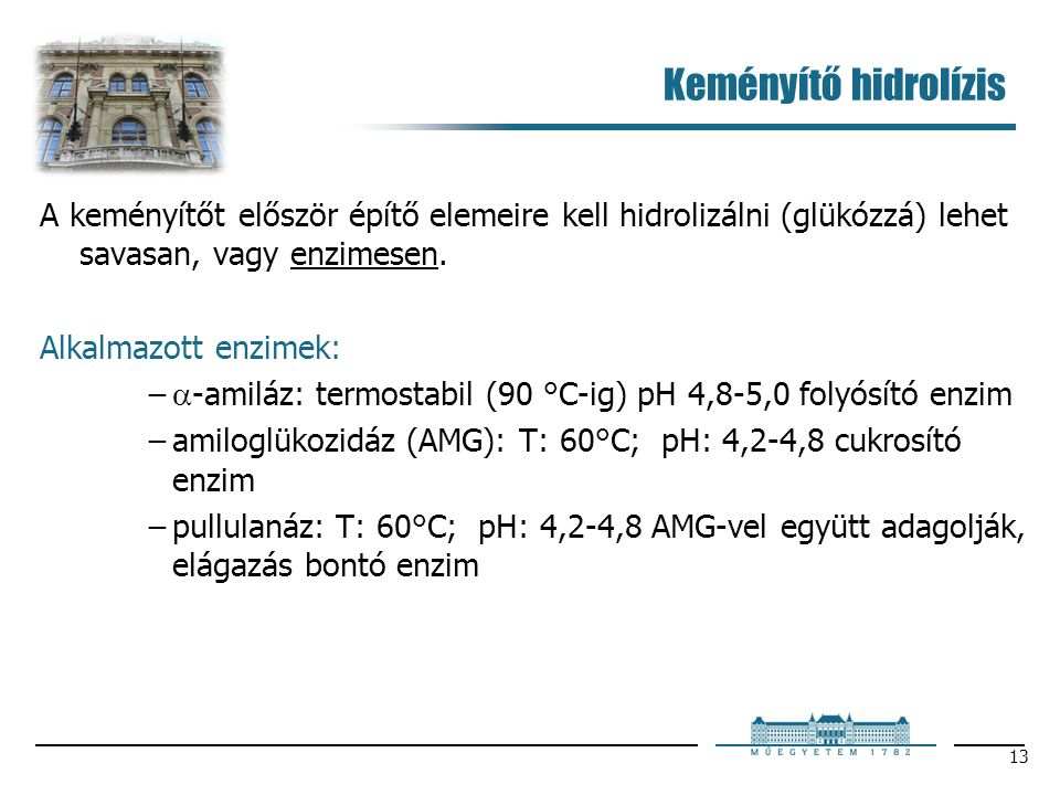 13 Keményítő hidrolízis A keményítőt először építő elemeire kell hidrolizálni (glükózzá) lehet savasan, vagy enzimesen. Alkalmazott enzimek: −  -amil