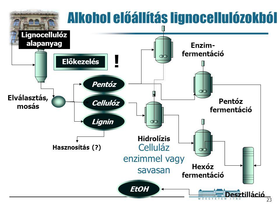 23 Alkohol előállítás lignocellulózokból Enzim- fermentáció Lignocellulóz alapanyag Előkezelés Pentóz fermentáció Hidrolízis Hexóz fermentáció Hasznosítás ( ) Desztilláció EtOH .