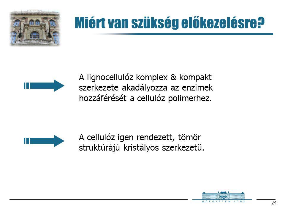 24 Miért van szükség előkezelésre? A lignocellulóz komplex & kompakt szerkezete akadályozza az enzimek hozzáférését a cellulóz polimerhez. A cellulóz
