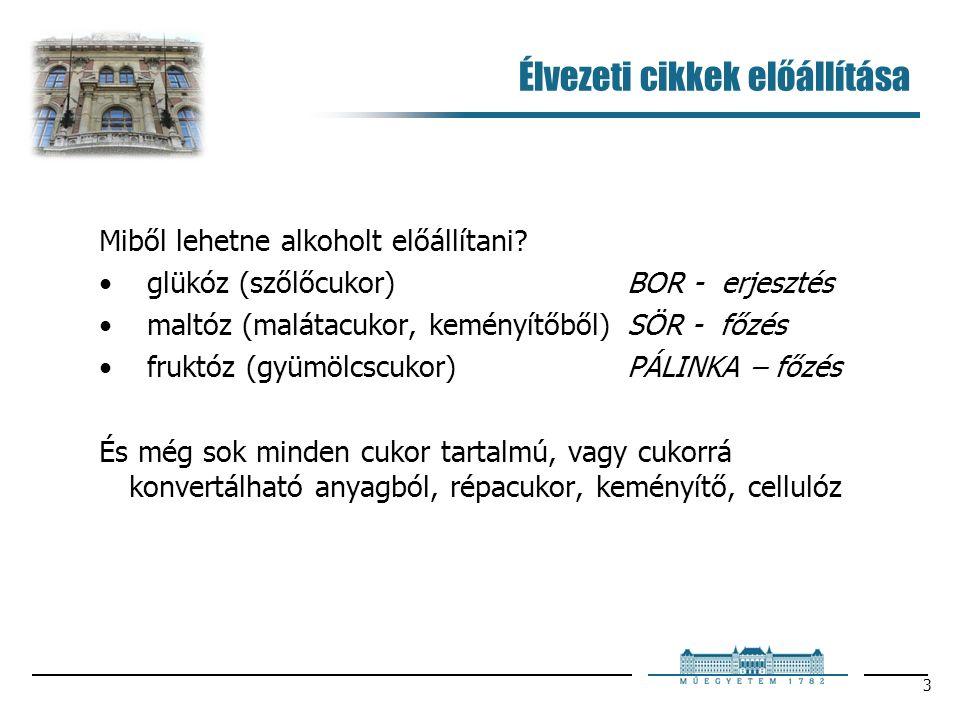 3 Élvezeti cikkek előállítása Miből lehetne alkoholt előállítani? glükóz (szőlőcukor) BOR - erjesztés maltóz (malátacukor, keményítőből)SÖR - főzés fr