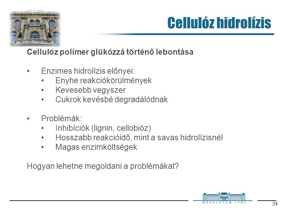 34 Cellulóz hidrolízis Cellulóz polimer glükózzá történő lebontása Enzimes hidrolízis előnyei: Enyhe reakciókörülmények Kevesebb vegyszer Cukrok kevésbé degradálódnak Problémák: Inhibíciók (lignin, cellobióz) Hosszabb reakcióidő, mint a savas hidrolízisnél Magas enzimköltségek Hogyan lehetne megoldani a problémákat