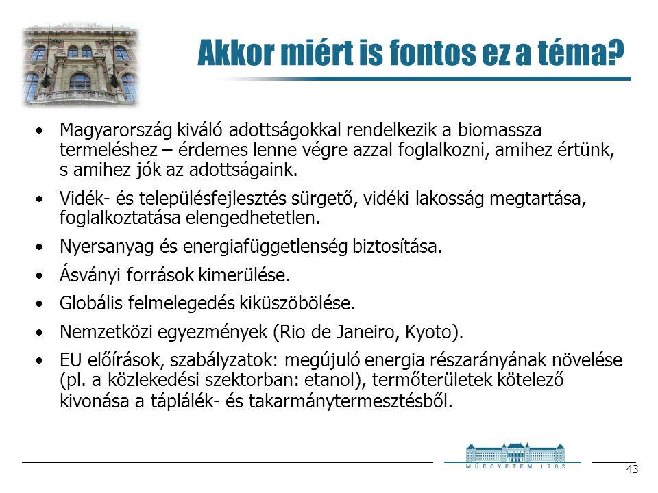 43 Akkor miért is fontos ez a téma? Magyarország kiváló adottságokkal rendelkezik a biomassza termeléshez – érdemes lenne végre azzal foglalkozni, ami