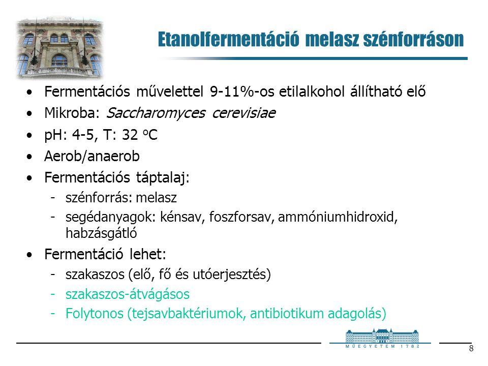 8 Etanolfermentáció melasz szénforráson Fermentációs művelettel 9-11%-os etilalkohol állítható elő Mikroba: Saccharomyces cerevisiae pH: 4-5, T: 32 o C Aerob/anaerob Fermentációs táptalaj: szénforrás: melasz segédanyagok: kénsav, foszforsav, ammóniumhidroxid, habzásgátló Fermentáció lehet: szakaszos (elő, fő és utóerjesztés) szakaszos-átvágásos Folytonos (tejsavbaktériumok, antibiotikum adagolás)