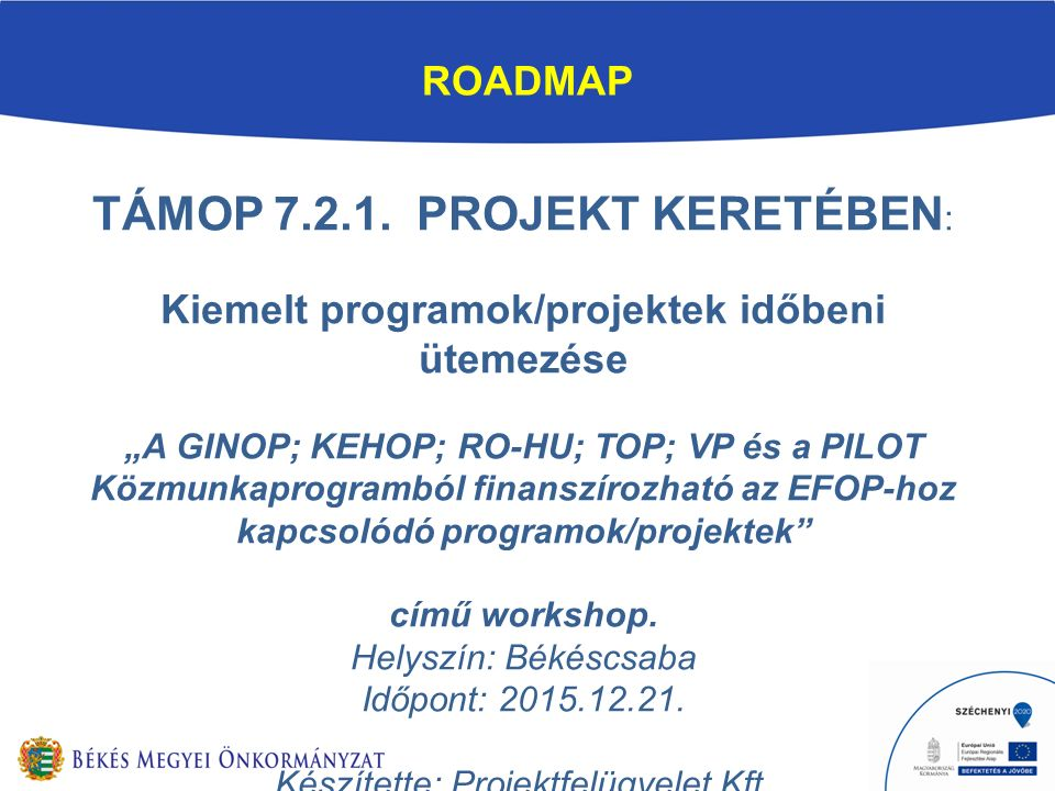 ROADMAP TÁMOP 7.2.1.
