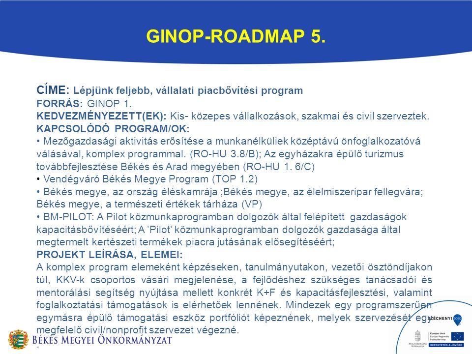 GINOP-ROADMAP 5. CÍME: Lépjünk feljebb, vállalati piacbővítési program FORRÁS: GINOP 1.