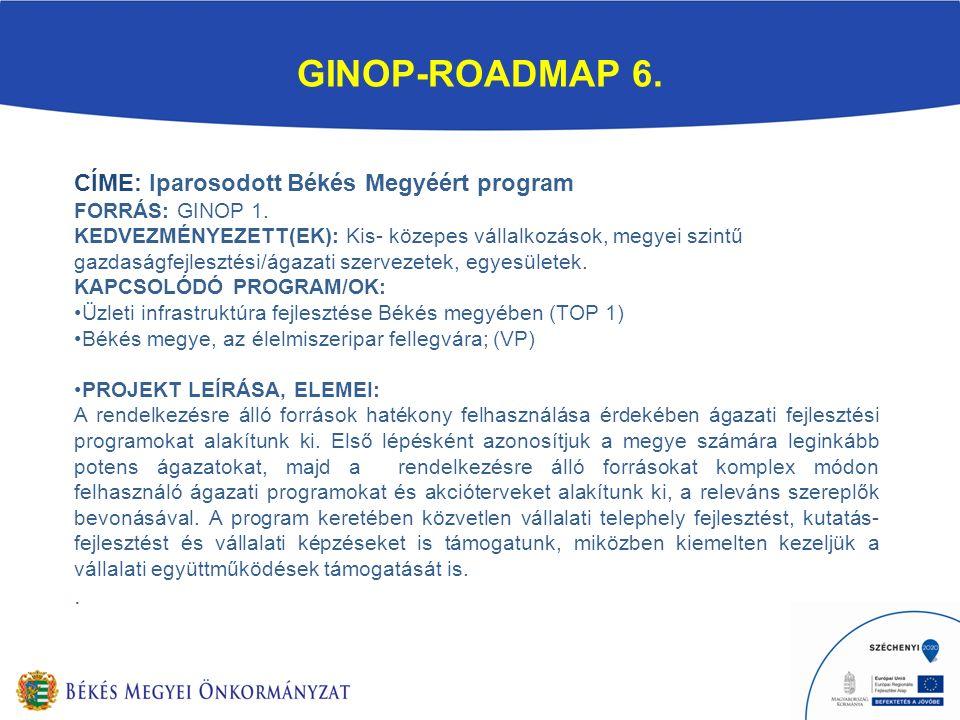 GINOP-ROADMAP 6. CÍME: Iparosodott Békés Megyéért program FORRÁS: GINOP 1.