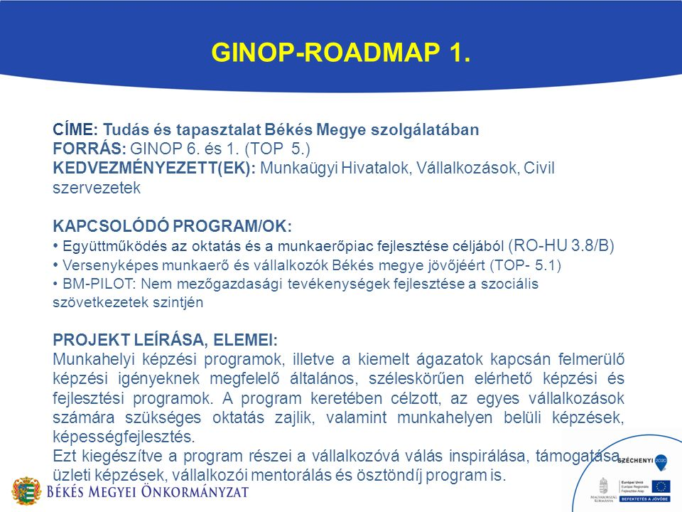 GINOP-ROADMAP 1. CÍME: Tudás és tapasztalat Békés Megye szolgálatában FORRÁS: GINOP 6.