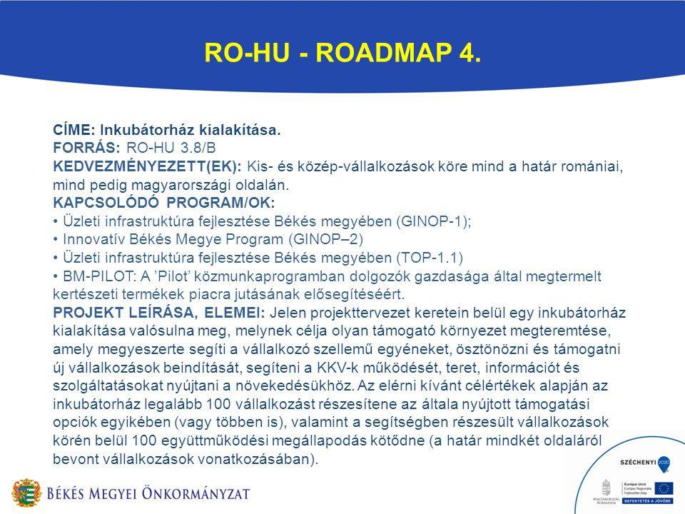 RO-HU - ROADMAP 4. CÍME: Inkubátorház kialakítása.