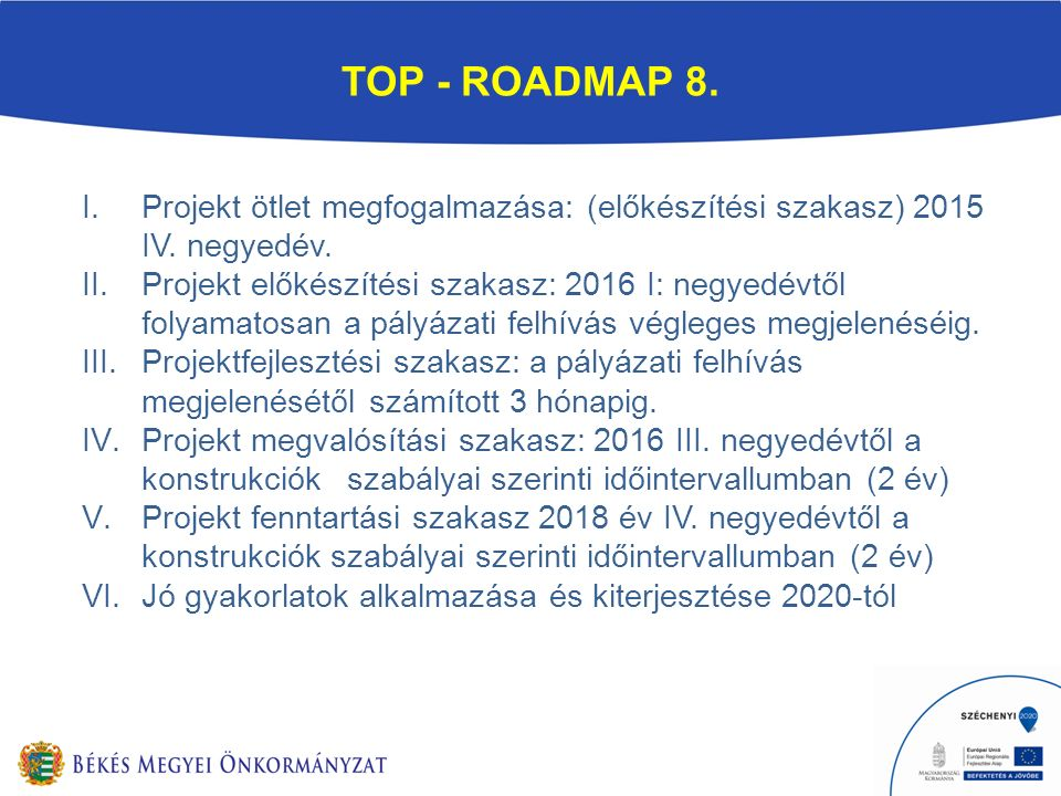 TOP - ROADMAP 8. I.Projekt ötlet megfogalmazása: (előkészítési szakasz) 2015 IV.