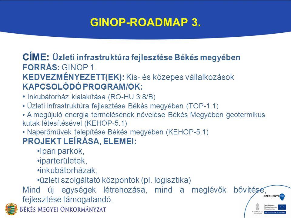 GINOP-ROADMAP 3. CÍME: Üzleti infrastruktúra fejlesztése Békés megyében FORRÁS: GINOP 1.