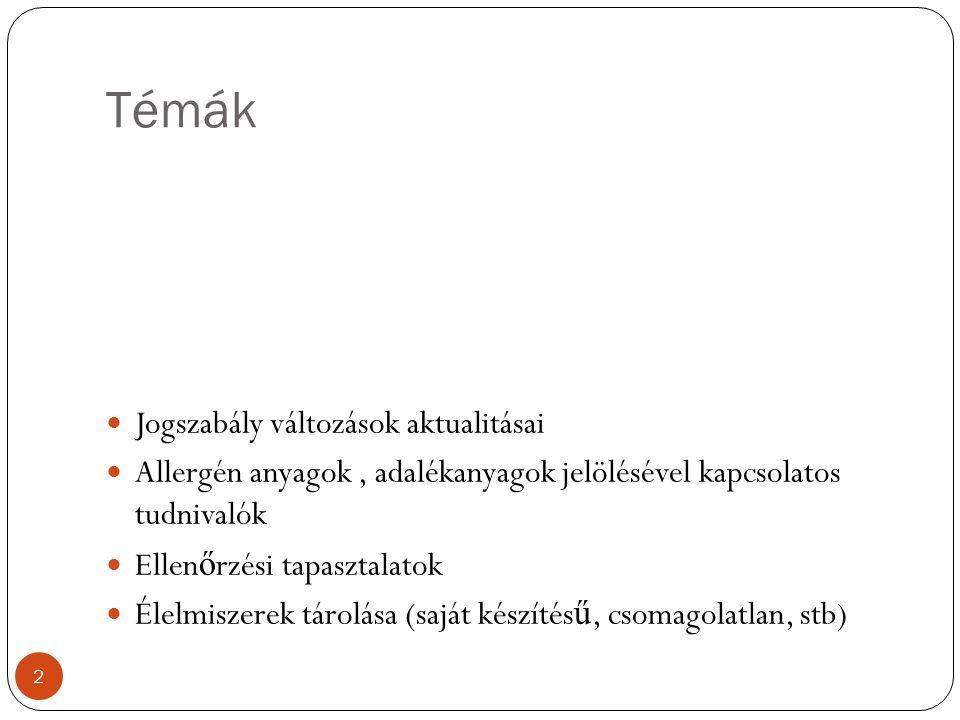 Allergén tájékoztatás 36/2014.(XII. 17.) FM r.