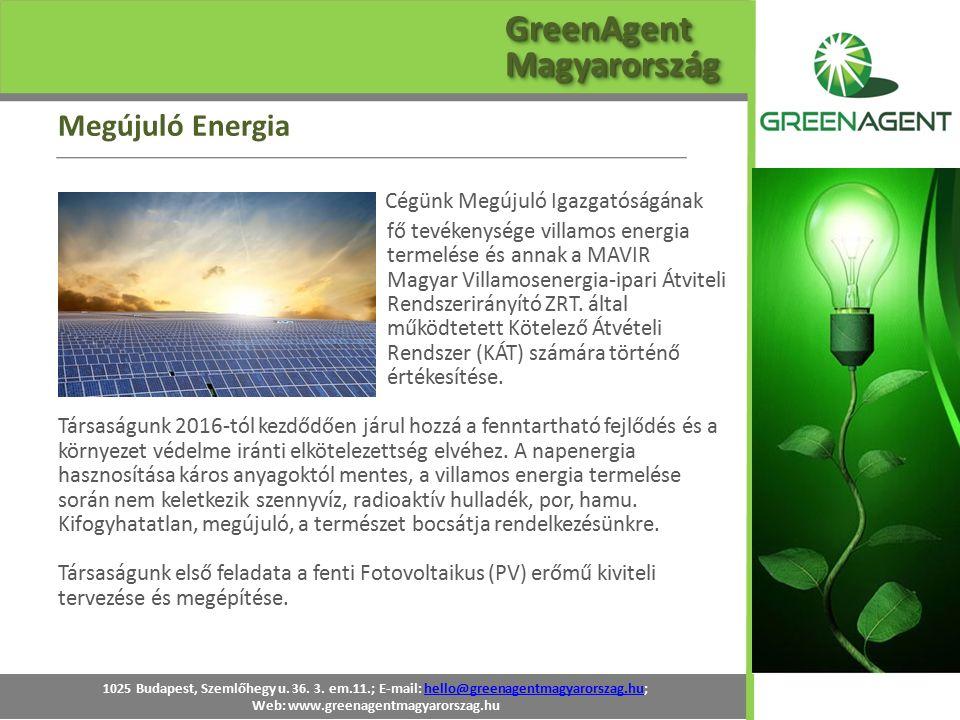 Cégünk Megújuló Igazgatóságának fő tevékenysége villamos energia termelése és annak a MAVIR Magyar Villamosenergia-ipari Átviteli Rendszerirányító ZRT
