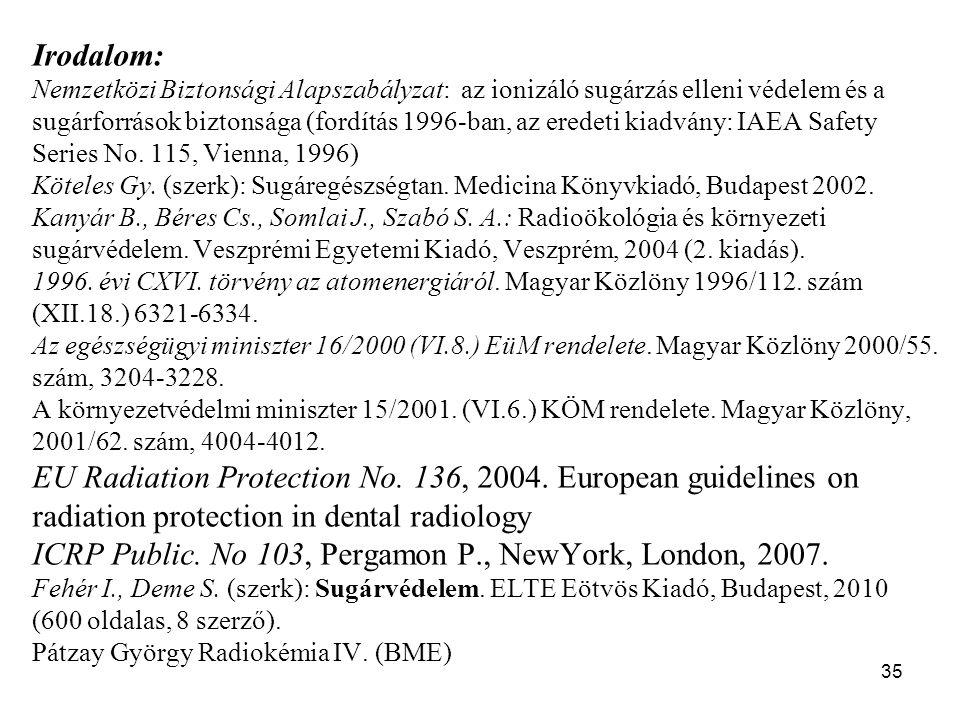 35 Irodalom: Nemzetközi Biztonsági Alapszabályzat: az ionizáló sugárzás elleni védelem és a sugárforrások biztonsága (fordítás 1996-ban, az eredeti kiadvány: IAEA Safety Series No.