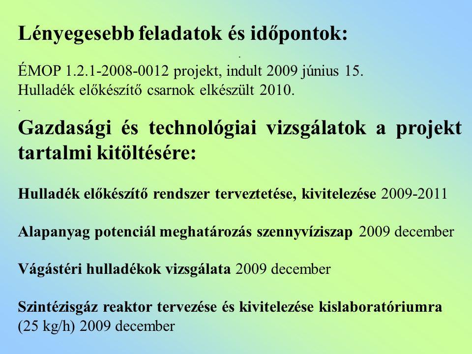 Lényegesebb feladatok és időpontok:. ÉMOP 1.2.1-2008-0012 projekt, indult 2009 június 15. Hulladék előkészítő csarnok elkészült 2010.. Gazdasági és te