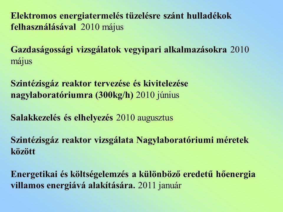 Elektromos energiatermelés tüzelésre szánt hulladékok felhasználásával 2010 május Gazdaságossági vizsgálatok vegyipari alkalmazásokra 2010 május Szintézisgáz reaktor tervezése és kivitelezése nagylaboratóriumra (300kg/h) 2010 június Salakkezelés és elhelyezés 2010 augusztus Szintézisgáz reaktor vizsgálata Nagylaboratóriumi méretek között Energetikai és költségelemzés a különböző eredetű hőenergia villamos energiává alakítására.