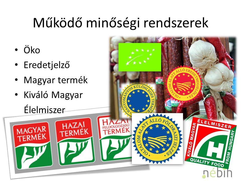 Működő minőségi rendszerek Öko Eredetjelző Magyar termék Kiváló Magyar Élelmiszer