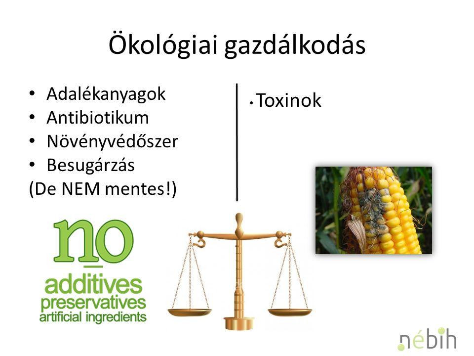 Ökológiai gazdálkodás Adalékanyagok Antibiotikum Növényvédőszer Besugárzás (De NEM mentes!) Toxinok