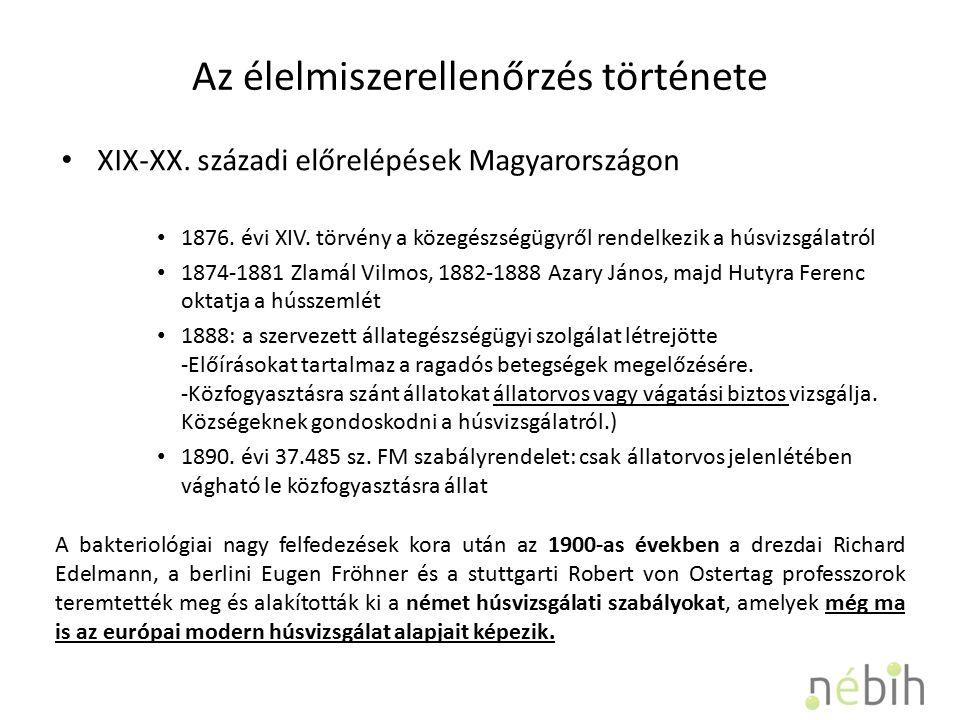 Az élelmiszerellenőrzés története XIX-XX.
