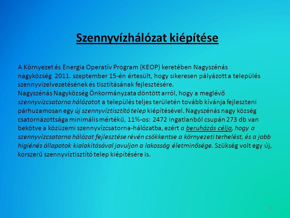 Szennyvízhálózat kiépítése A Környezet és Energia Operatív Program (KEOP) keretében Nagyszénás nagyközség 2011.