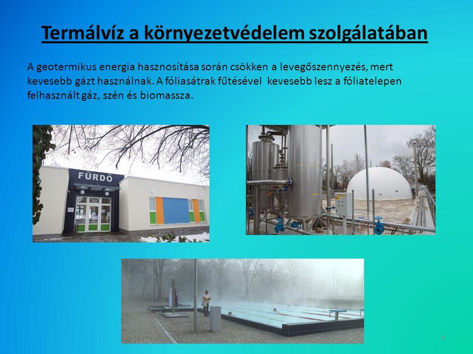 Termálvíz a környezetvédelem szolgálatában 9 A geotermikus energia hasznosítása során csökken a levegőszennyezés, mert kevesebb gázt használnak.