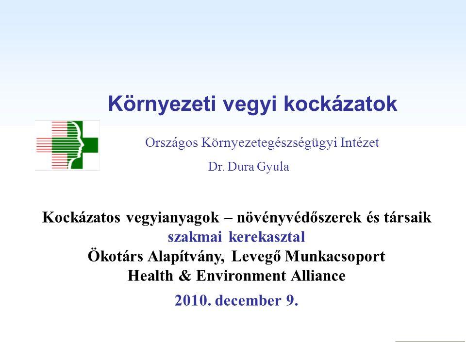 Környezeti vegyi kockázatok Dr. Dura Gyula Kockázatos vegyianyagok – növényvédőszerek és társaik szakmai kerekasztal Ökotárs Alapítvány, Levegő Munkac