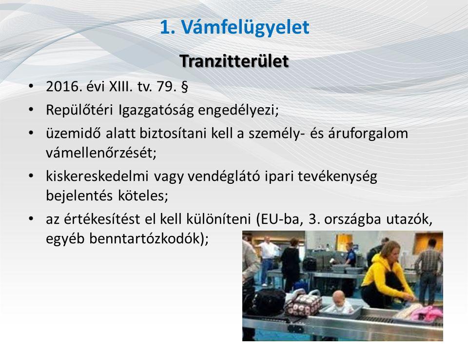1. Vámfelügyelet Tranzitterület 2016. évi XIII. tv. 79. § Repülőtéri Igazgatóság engedélyezi; üzemidő alatt biztosítani kell a személy- és áruforgalom