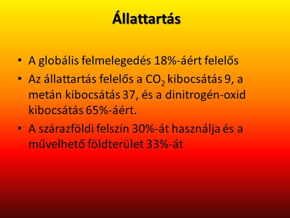 Állattartás A globális felmelegedés 18%-áért felelős Az állattartás felelős a CO 2 kibocsátás 9, a metán kibocsátás 37, és a dinitrogén-oxid kibocsátás 65%-áért.