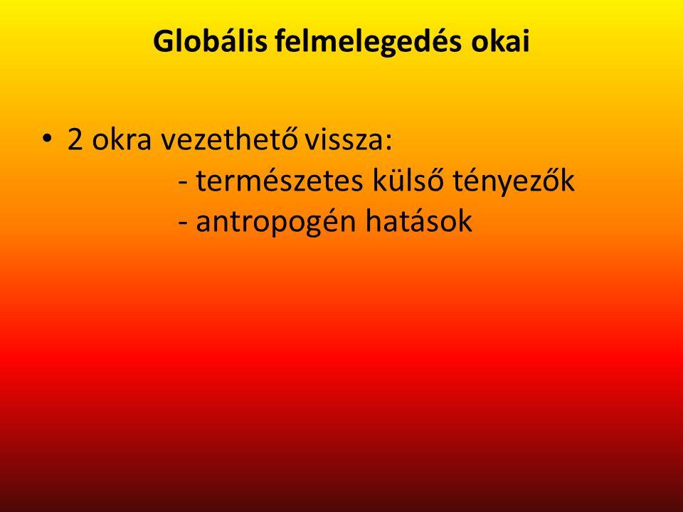 Globális felmelegedés okai 2 okra vezethető vissza: - természetes külső tényezők - antropogén hatások