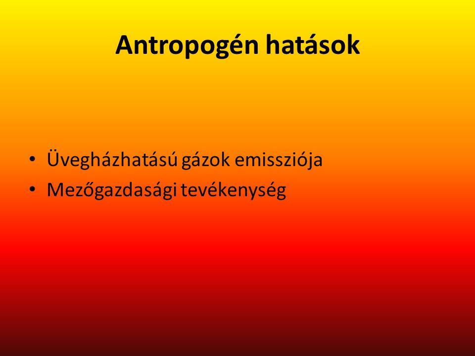 Antropogén hatások Üvegházhatású gázok emissziója Mezőgazdasági tevékenység