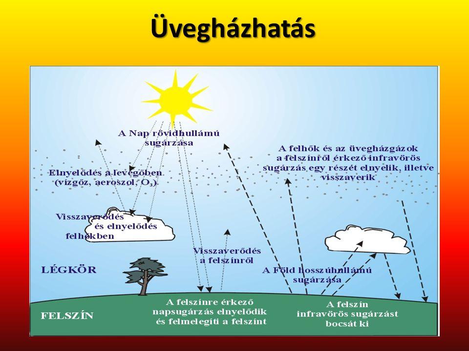 Üvegházhatású gázok Vízgőz (H 2 O) Szén-dioxid (CO 2 ) Metán (CH 4 ) Dinitrogén-oxid (N 2 O) Ózon (O 3 ) Halogénezett szénhidrogének Az üvegházgázok hozzájárulása a sugárzási kényszer megváltozásához A légkör természetes üvegházhatásának hőmérsékleti összetevői