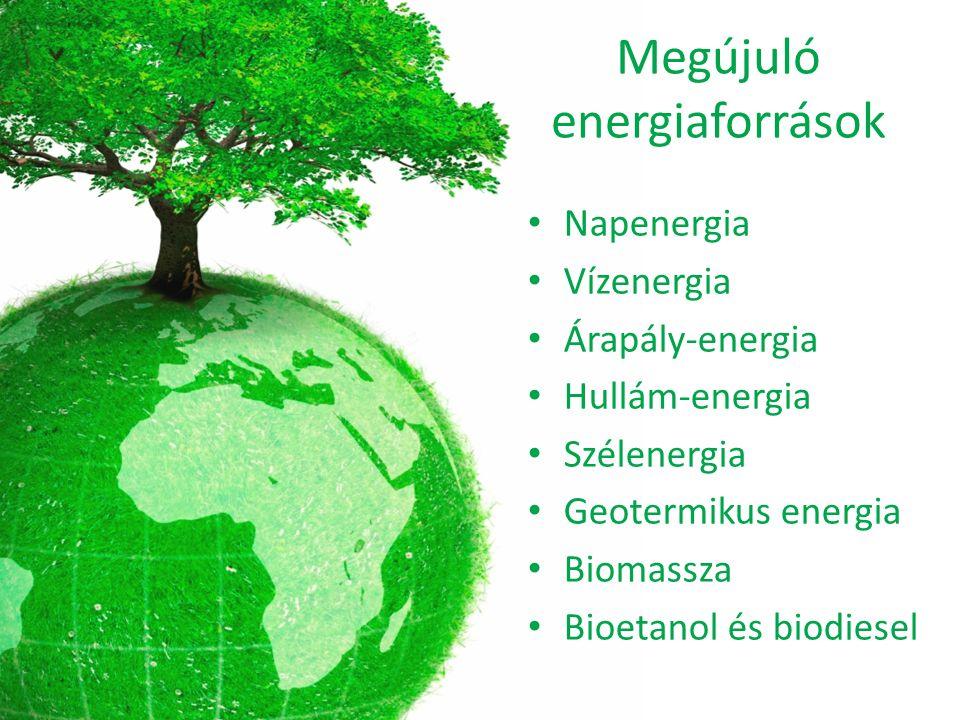 Megújuló energiaforrások Napenergia Vízenergia Árapály-energia Hullám-energia Szélenergia Geotermikus energia Biomassza Bioetanol és biodiesel