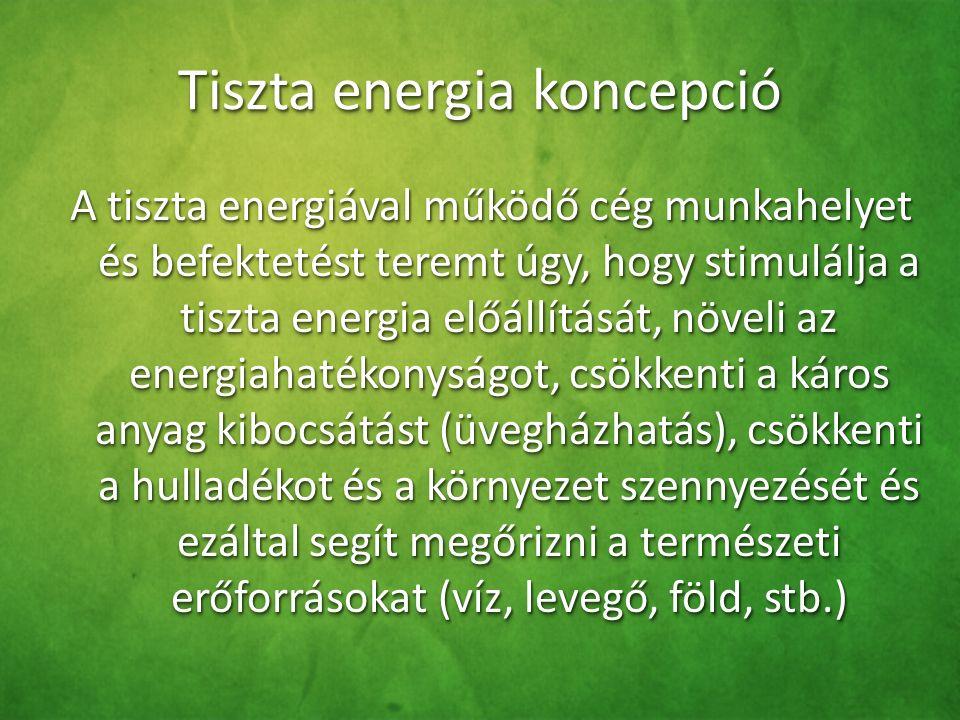 Tiszta energia koncepció A tiszta energiával működő cég munkahelyet és befektetést teremt úgy, hogy stimulálja a tiszta energia előállítását, növeli a