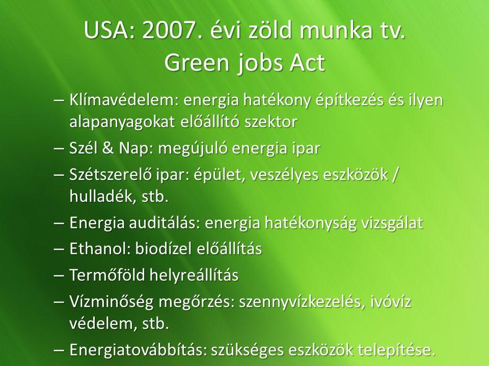 USA: 2007. évi zöld munka tv. Green jobs Act – Klímavédelem: energia hatékony építkezés és ilyen alapanyagokat előállító szektor – Szél & Nap: megújul