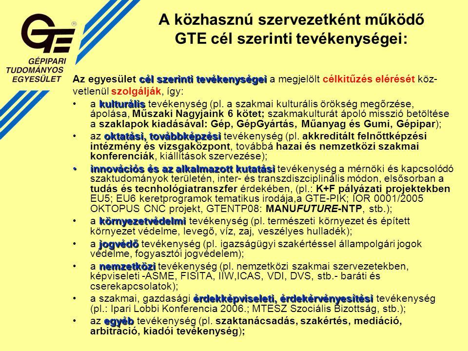 A közhasznú szervezetként működő GTE cél szerinti tevékenységei: cél szerinti tevékenységei Az egyesület cél szerinti tevékenységei a megjelölt célkitűzés elérését köz- vetlenül szolgálják, így: kulturálisa kulturális tevékenység (pl.