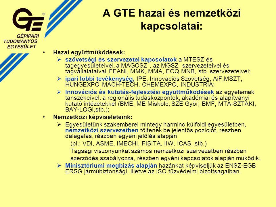 A GTE hazai és nemzetközi kapcsolatai: Hazai együttműködések:  szövetségi és szervezetei kapcsolatok a MTESZ és tagegyesületeivel, a MAGOSZ, az MGSZ szervezeteivel és tagvállalataival, FEANI, MMK, MMA, EOQ MNB, stb.