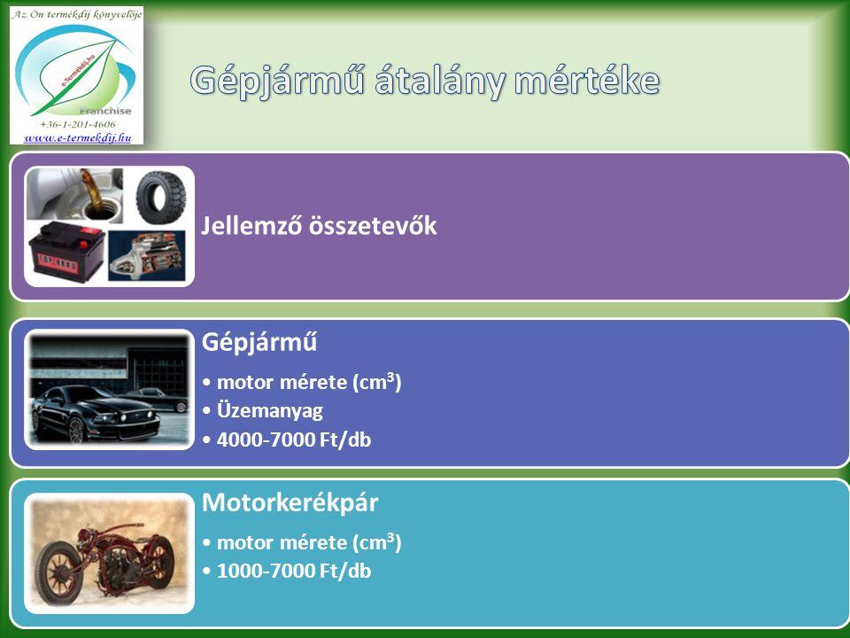 Jellemző összetevők Gépjármű motor mérete (cm 3 ) Üzemanyag 4000-7000 Ft/db Motorkerékpár motor mérete (cm 3 ) 1000-7000 Ft/db