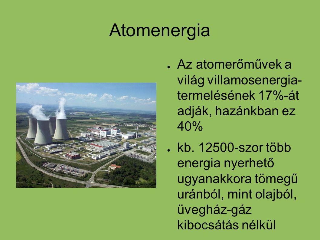 Fúziós energiatermelés ● Hosszútávú megoldás lenne hidrogén atomok fúziójával energiát termelni, égéstermék hélium ● Környezetbarát, nagy energiafelszabadulás fúzió során, nincs szennyezőanyag ● Technikai akadályok egyelőre, többletenergiát nem nagyon termelő kísérleti reaktorokat sikerült építeni ezidáig