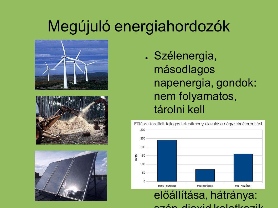 Megújuló energiahordozók ● Szélenergia, másodlagos napenergia, gondok: nem folyamatos, tárolni kell ● Biomassza, mezőgazdasági állati, növényi eredetű
