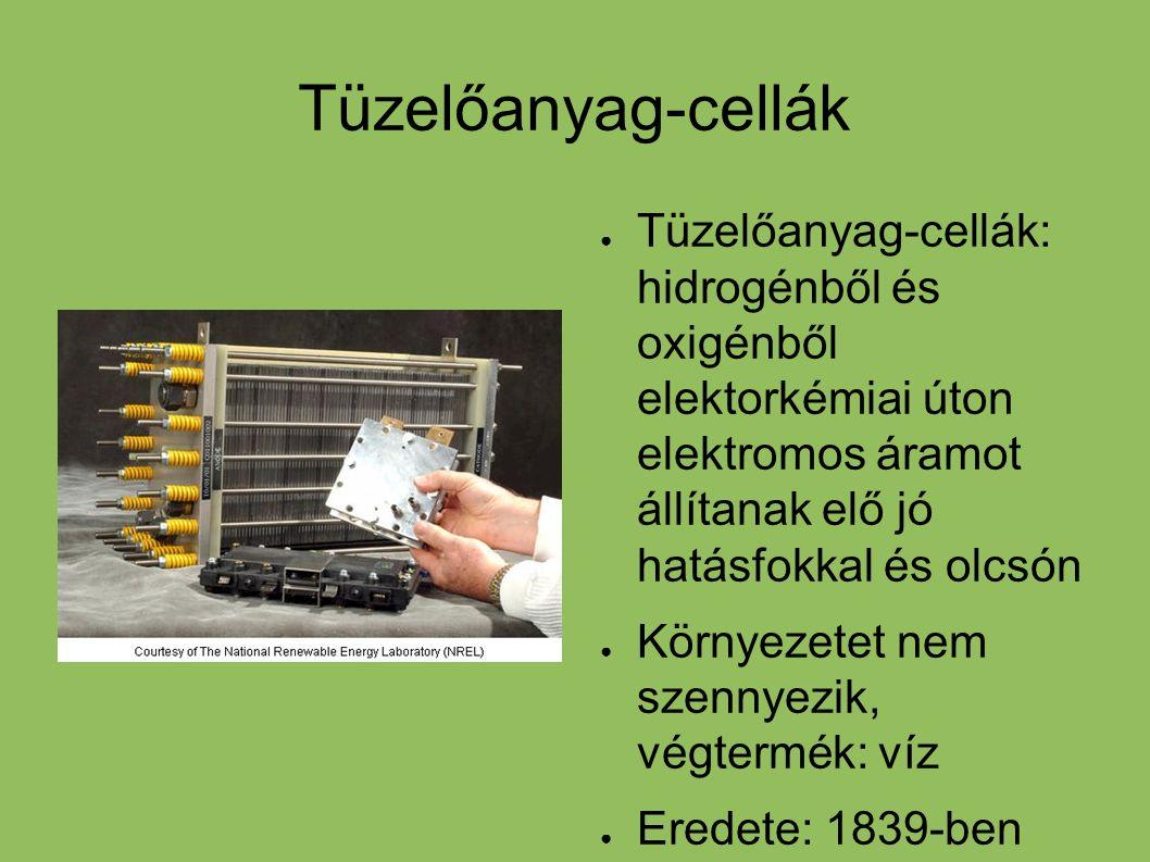 Tüzelőanyag-cellák ● Tüzelőanyag-cellák: hidrogénből és oxigénből elektorkémiai úton elektromos áramot állítanak elő jó hatásfokkal és olcsón ● Környe