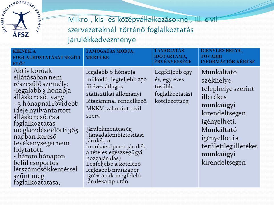 Mikro-, kis- és középvállalkozásoknál, ill. civil szervezeteknél történő foglalkoztatás járulékkedvezménye KIKNEK A FOGLALKOZTATÁSÁT SEGÍTI ELŐ? TÁMOG