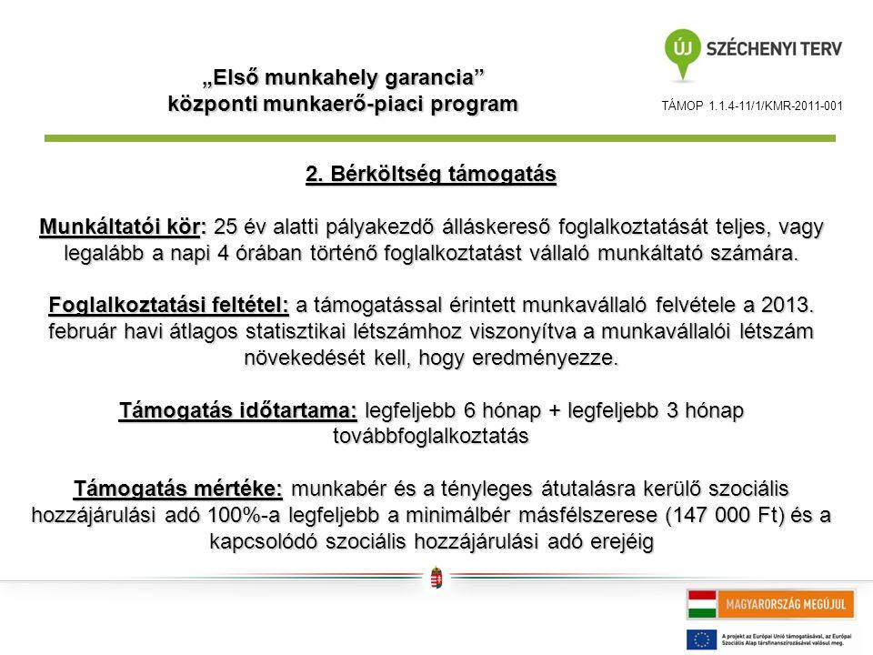 """TÁMOP 1.1.4-11/1/KMR-2011-001 """"Első munkahely garancia központi munkaerő-piaci program 2."""